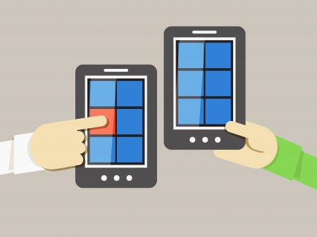 new way: Mobile phone information transfer illustration Illustration