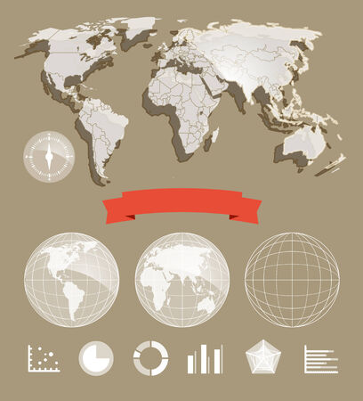 parallel world: Infographic element template  World map and different charts