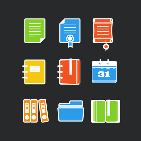 stack of documents: Office documents color vector icons set on black Illustration