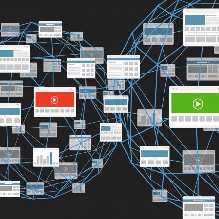 Modern digital media website connection abstract scheme Illustration