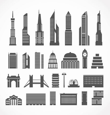 clock tower: Modern city elements silhouettes collection