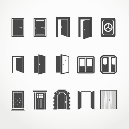 metal doors: Different doors web icons collection