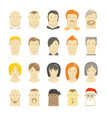Retro and modern different people faces style isolated on white Vector