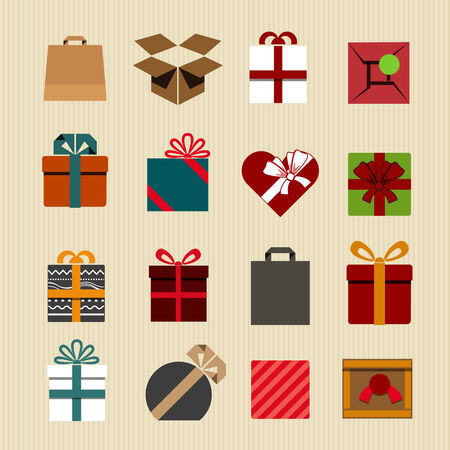 Color gift boxes icons collection. Retro style  Vector