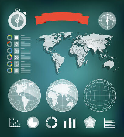 Infographic element template. World map and different charts Vector