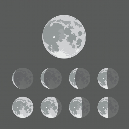 Different silhouettes of the Moon 矢量图像