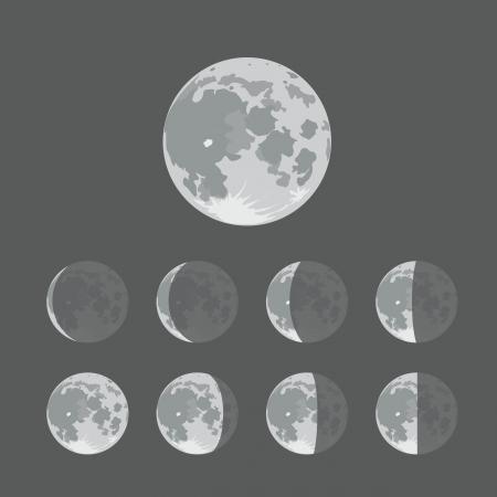 Verschillende silhouetten van de maan