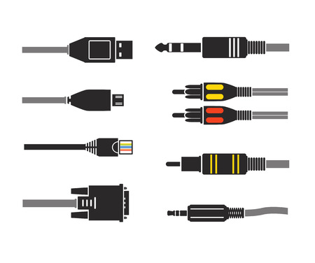 rj45: Different modern connection plugs. Vector silhouettes