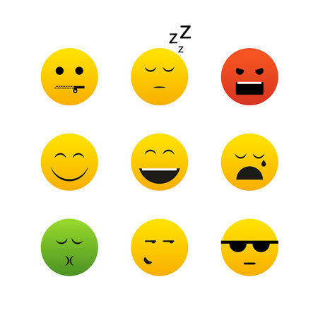 Collection of different emotion faces Vector