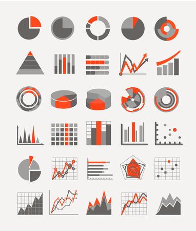 グラフィック事業の評価とグラフのインフォ グラフィック要素  イラスト・ベクター素材