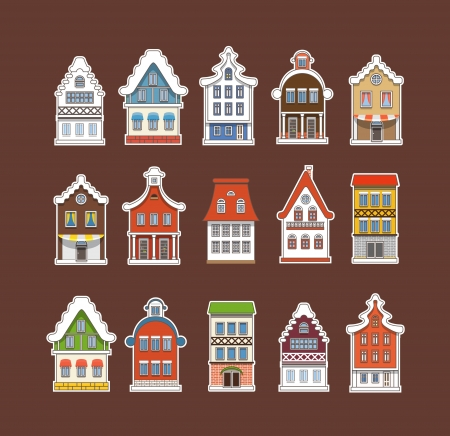 Colorful traditional Amsterdam vintage houses collection Vector