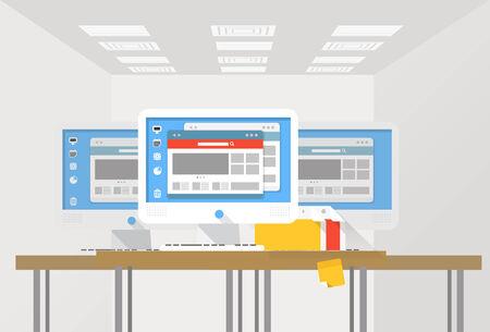 media center: Group of modern computer workstations at an office  Illustration of teamwork