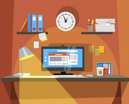 office light: Interior of Working place  Illustration
