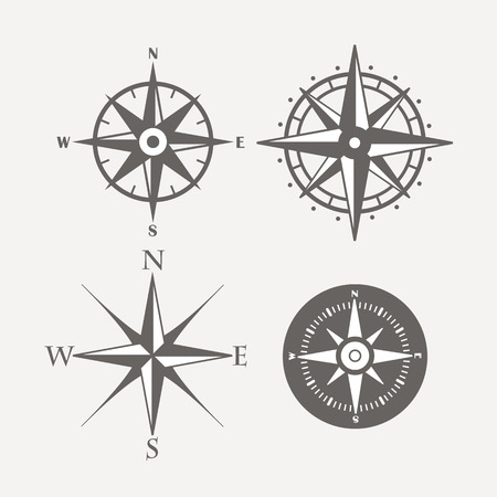 Wind rose retro design vector collection Çizim