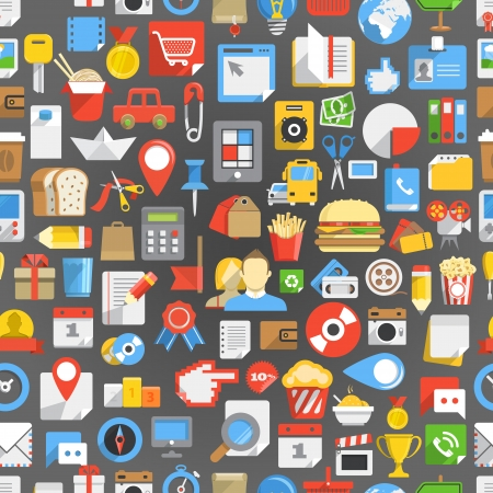 Seamless background of many interface icons Illustration