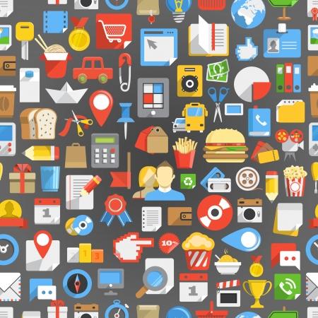 Seamless background of many interface icons Illustration