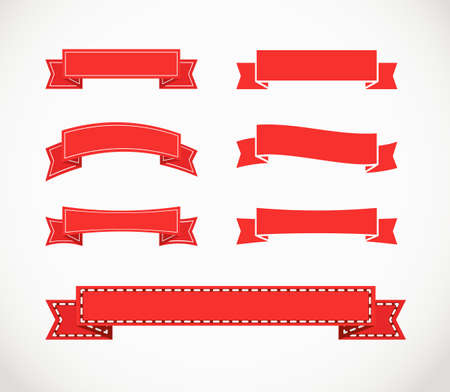 Different retro style red ribbons  Ready for a text Vector