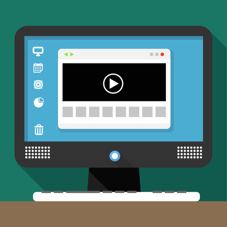 Modern personal computer with media browser window on desktop Vector