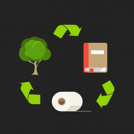 raw material: Ecology cycle of paper  Abstract scheme with flat design icons