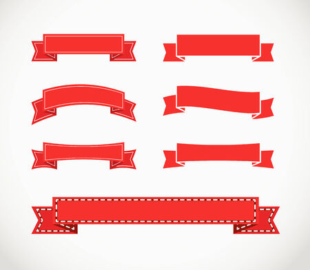 Different retro style red ribbons. Ready for a text Vector