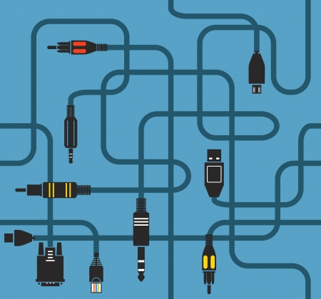 vga: Different modern connection plugs and wires. Seamless background Illustration