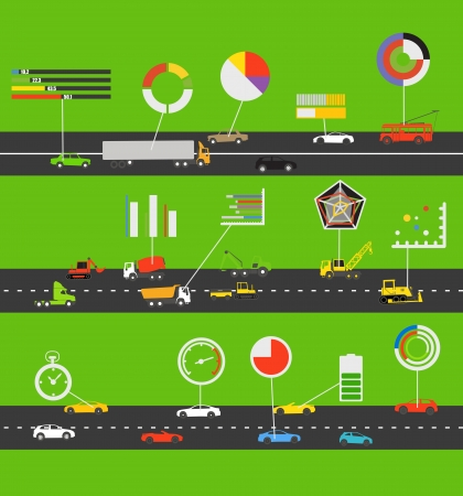 Transportation scheme with infographic elements Illustration
