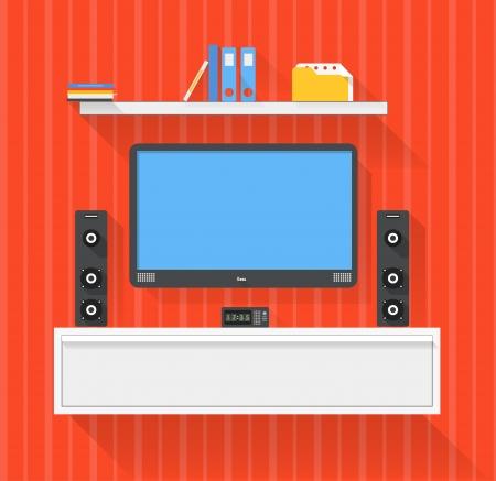 Modern home media entertainment system illustration Illustration