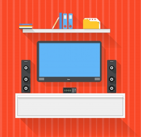 flat screen tv: Modern home media entertainment system illustration Illustration