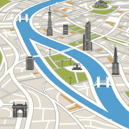 抽象的な都市地図イラスト
