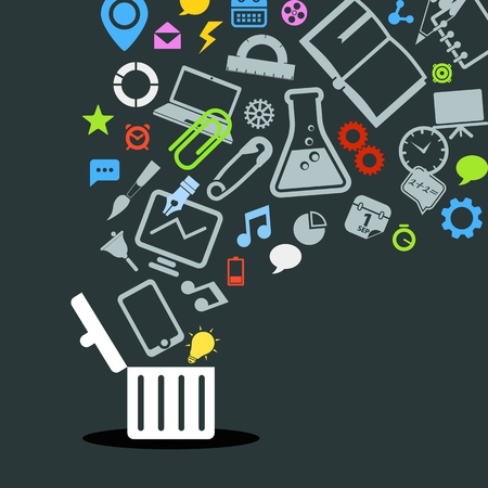 wastebasket: Different icons flowing into a garbage basket Illustration