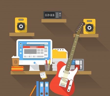 Working place of a musicant Stock Vector - 23990102
