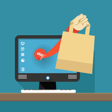computer screen data: Internet shopping illustration. Hand with shopping bag