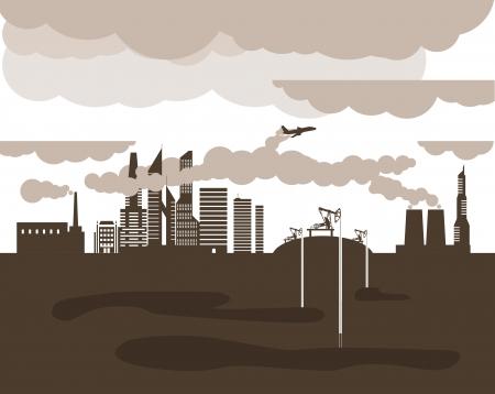 maschine: Modern ecology situation illustration Illustration