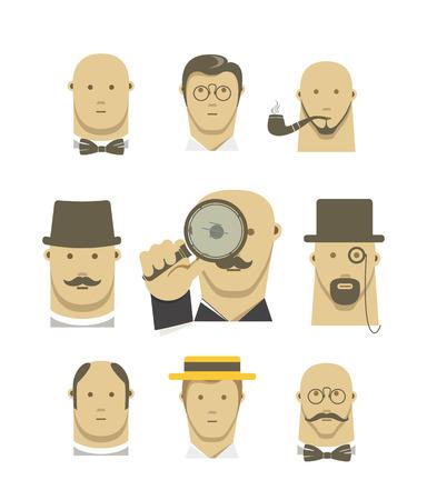 bald head: Vintage detective gentlemen characters set