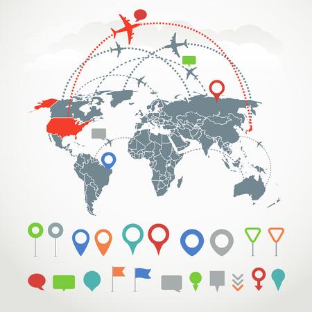 trajectoire: Syst�me de communication abstrait avec des �l�ments infographiques Illustration