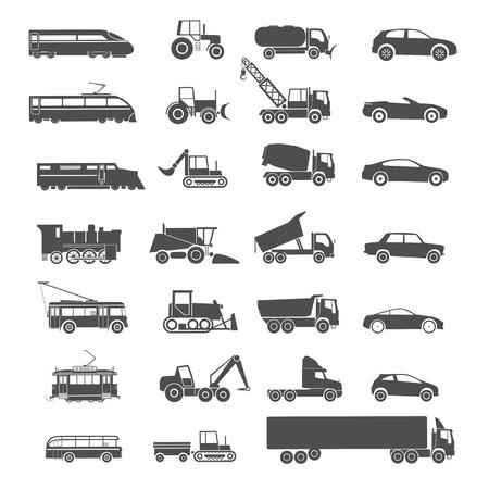 combinar: Colección de siluetas de transporte moderno y retro aislado en blanco Vectores