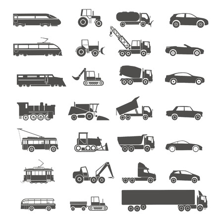 cargo train: Modern and retro transport silhouettes collection isolated on white