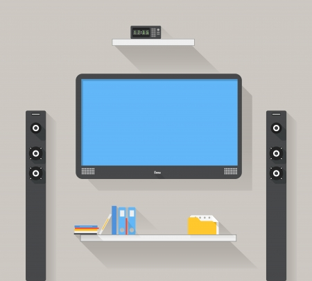 Modern home media entertainment system illustration Stock Vector - 23990124
