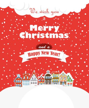 冬には降雪でクリスマス greating カード ビンテージ建物 写真素材 - 23990126