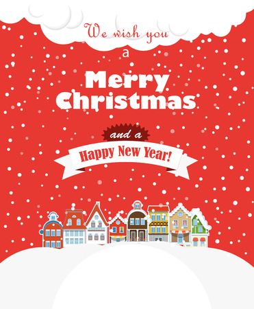 Christmas greating card  Vintage buildings with snowfall on Winter Illustration