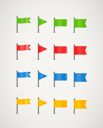 Collection of different color flags 矢量图像