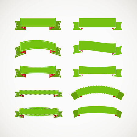 Different retro style green ribbons  Ready for a text Vector