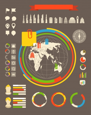 population: City statistic information of different countries. Infographic elements all selectable Illustration