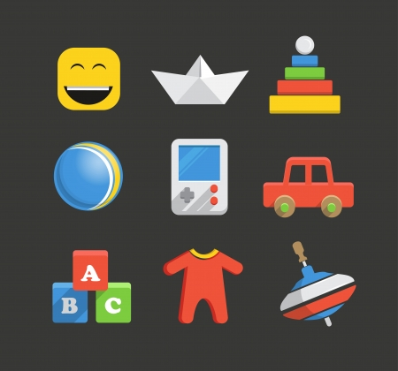 romper: Baby`s accessories icon collection