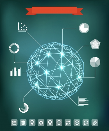 Abstract geometric sphere composition with glowing points. Infographic elements  Vector