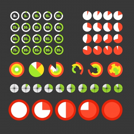 Different circle charts collection. Infographic elements Vector