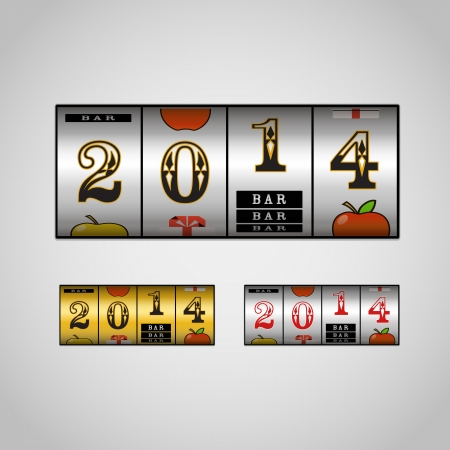 Slot maching with 2014 digits set Vector