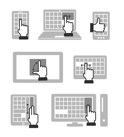Guide with basic gestures to work with modern touch gadgets isolated on white Vector