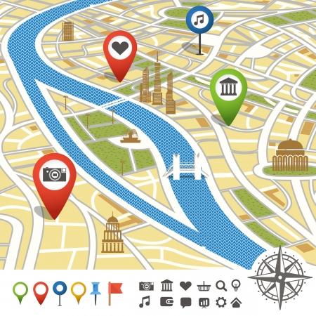 transportation: Mappa astratta della città con i luoghi di interesse Vettoriali