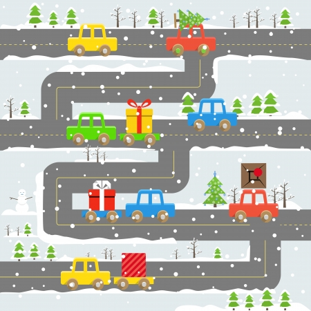 Winter road with cars illustration  Chrristmas eve Vector
